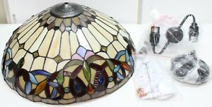 """SERENITY Tiffany-style 2 Light Victorian Ceiling Pendent Fixture w/ 18"""" Shade"""