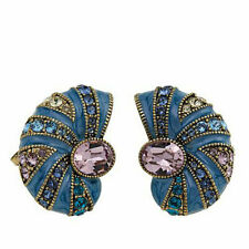"Heidi Daus ""Seas the Day"" Blue Enamel Crystal Earrings Pierced NWT Retail $100"