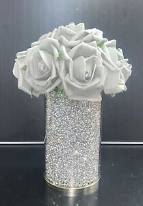 CRUSHED DIAMOND SILVER CRYSTAL VASE WITH FOAM FLOWERS