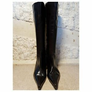 LK Bennett Ladies Brown Leather Pointed Toe Knee High Boots Eur 40 US 5 UK 7