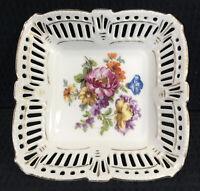 """Schwarzenhammer Bavaria Reticulated Square Bowl Floral 5.5"""" Vintage Porcelain"""