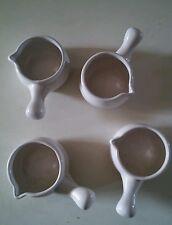 015 4 Cooks Tools Miniature White Ceramic Crocks/Ramikins with Handles