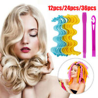 12/24/36Pcs Magic Long Hair Curlers No Heat Curl Formers Leverage Spiral Rollers