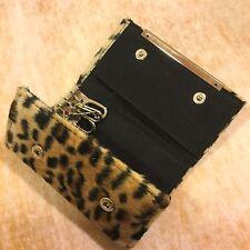 Plush Faux LEOPARD Fur KEYCHAIN Card Holder TRIFOLD WALLET 6 Key Ring Snap Purse