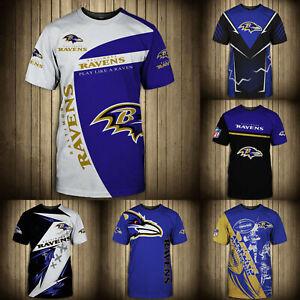 Baltimore Ravens Summer Men's T-shirt Casual Short Sleeve Tee Top Shirts S-5XL