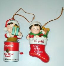 Campbell Soup 2001 & 2002 Christmas Ornaments Toys in Stocking & Jack in the Box