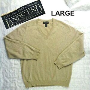 "LANDS END Direct Merchants LARGE L 42-44 Chest 48"" CASHMERE Beige V-Neck Sweater"