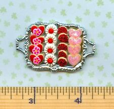 Dollhouse Miniature Tray of Sue's Valentines Day Cookies  #  150