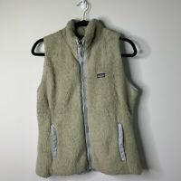 Patagonia gray fuzzy faux fur zip up vest jacket women's size M