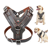Genuine Leather Dog Harness Medium Large Pet Vest Heavy Duty for Pit Bull Boxer