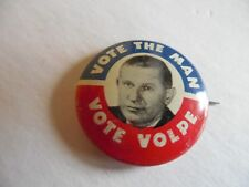 Massachusetts Campaign Local Pin Back Button Governor John Volpe Political