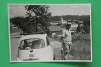 1x Foto Auto Oldtimer ISO BMW Isetta 1950-1960er Urlaub Reise Verdeck offen Kult