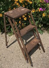 VINTAGE METAL 2 STEP FOLDING STEP STOOL LADDER Rustic Chippy Paint Shabby Chic