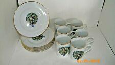 Avon Partridge in a Pear Tree Dessert/ Lunch Plates & Mugs Set of 6 Vtg Euc
