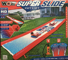NEW Giant 25ft x 6ft WOW Inflatable Outdoor Water Super Slide + Pump & 2 Sleds