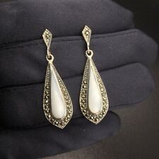 VINTAGE MOTHER OF PEARL & MARCASITES STERLING SILVER DANGLE EARRINGS
