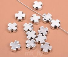 50pcs Tibetan Silver charm cross beads spacer bead fit necklace 7mm FA3460