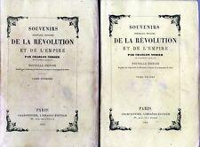 C1 NAPOLEON Charles NODIER Souvenirs REVOLUTION et EMPIRE 1865 Complet 2 Tomes