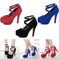 Mode Damen Knöchelriemen Schuhe mit hohem Absatz Hochzeit Plateau Pumps