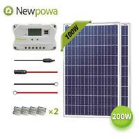 NewPowa 200W Watt Solar Panel 12V System Controller Mounts MC4 Wire charging Kit