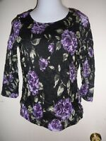 Woman's Top  Size M White Stag Floral 100% Polyester 3/4 Sleeve Black
