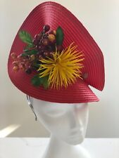 Red High Twisted Fascinator Yellow Flower - Made In AUS - A00106