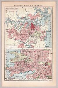 Sydney, Australien - Umgebungskarte und Stadtplan - Lithographie 1903