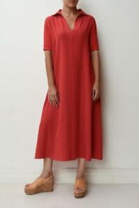 MAX MARA Red Brushed Silk Contrast Short Knit Sleeve Midi Kaftan Dress I44/AU12