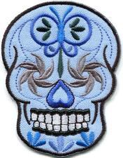 Sugar skull day of the dead calavera biker applique iron-on patch new S-1243