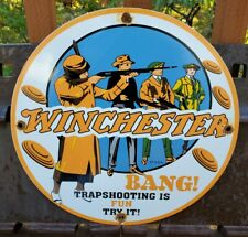 VINTAGE DATED 1937 WINCHESTER CARTRIDGES PORCELAIN SIGN PISTOLS AND REVOLVERS