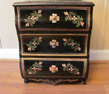 "Folk Art !5""  Folk  Art Craft Black Lacqure Wood Chest 3 Drawers Floral Deco"