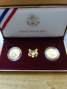 1999 Washington Commemorative Proof and Uncirculated Gold 5 dollar 2 coin set