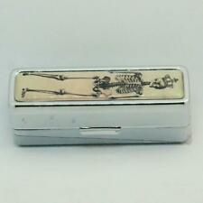 HAND DECORATED LIPSTICK HOLDER LIPSTICK CASE WITH MIRROR GOTHIC SKELETON