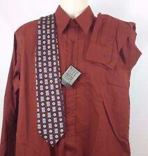 NWT OLEG CASSINI Men's Dress Shirt Size 16 34/35 Long Sleeve Cotton Blend Brick