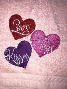 Embroidered Pink Bathroom Hand Towel  Love Hugs Kisses Valentine Hearts HS1596