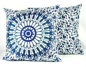 STUDIO D Set of Two Square Cotton Mandala Throw Pillows White Blue Block Print