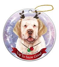 Holiday Pet Gifts Clumber Spaniel Lemon/White Dog Porcelain Christmas Ornament