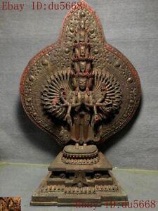 Old Tibetan Buddhism Bronze Gilt 1000 arms Avalokitesvara Kwan-Yin Buddha statue