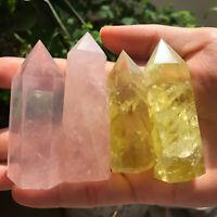 Natural citrine pink rose quartz crystal obelisk wand point healing 4pcs 200g+