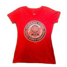 Chicago Cubs 2016 World Series Champions Red T-Shirt Women's Medium