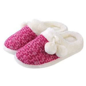 Women's Slip-on Knit Weave Plush Slippers With Pom Poms Bedroom House Shoes