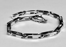 "10k Solid White Gold Handmade Fashion Link Men Chain Bracelet 7.5"" 18 grm 4.5MM"