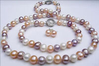 7-8mm mixed-colour Freshwater pearl Necklaces Bracelets Earrings sets JN775