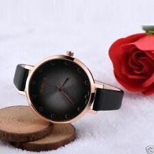 Ladies Fashion Rose Gold Black Dial OKTIME Quartz Slim Black Band Wrist Watch.