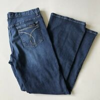 Calvin Klein Dark Wash Flare Fit Blue Jeans Womens Size 32/14 FLAWLESS