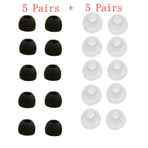 10 Pairs Medium Size Clear Black Silicone Replacement Ear Buds Tips For Samsung