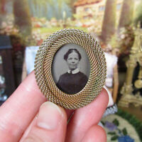 Antique Victorian Miniature Dollhouse Picture Frame Jewelry Tin Type Gold Fill?