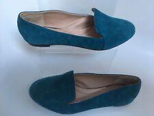 Lands' End Vivian Venetian Flat Teal Suede Shoes Loafers Pumps Ballerinas 7.5 8