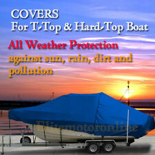 Carolina Skiff 258 DLV Center Console Fishing T-Top Hard-Top Boat Cover Blue