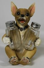 Chihuahua Salt & Pepper Shaker Holder Polyresin Dog Puppy New Dining Kitchen Le